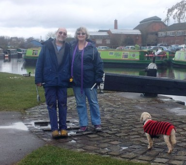 Gordon, Diane & a much baldier Banjo as Ferndale heads up the Trent & Mersey