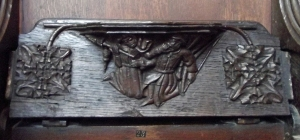 Misericord carving depicting a hapless hunter being beaten by his wife after having failed to bring home any meat. Gordon, luckily never suffered such a fate when he came home from a poor fishing trip!