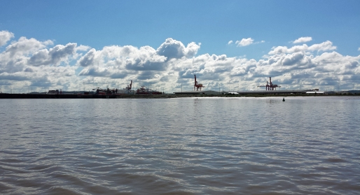 Passing by the docks at Avonmouth